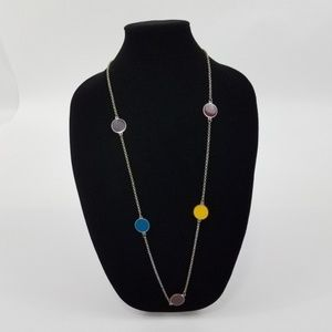 ! Modern Mod Necklace Chain Circle Multi Color Sil